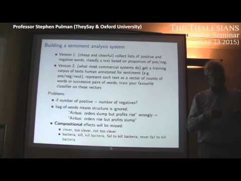 Stephen Pulman talk on Multi-Dimensional Sentiment Analysis at Thalesians London - 23 Sep 2015