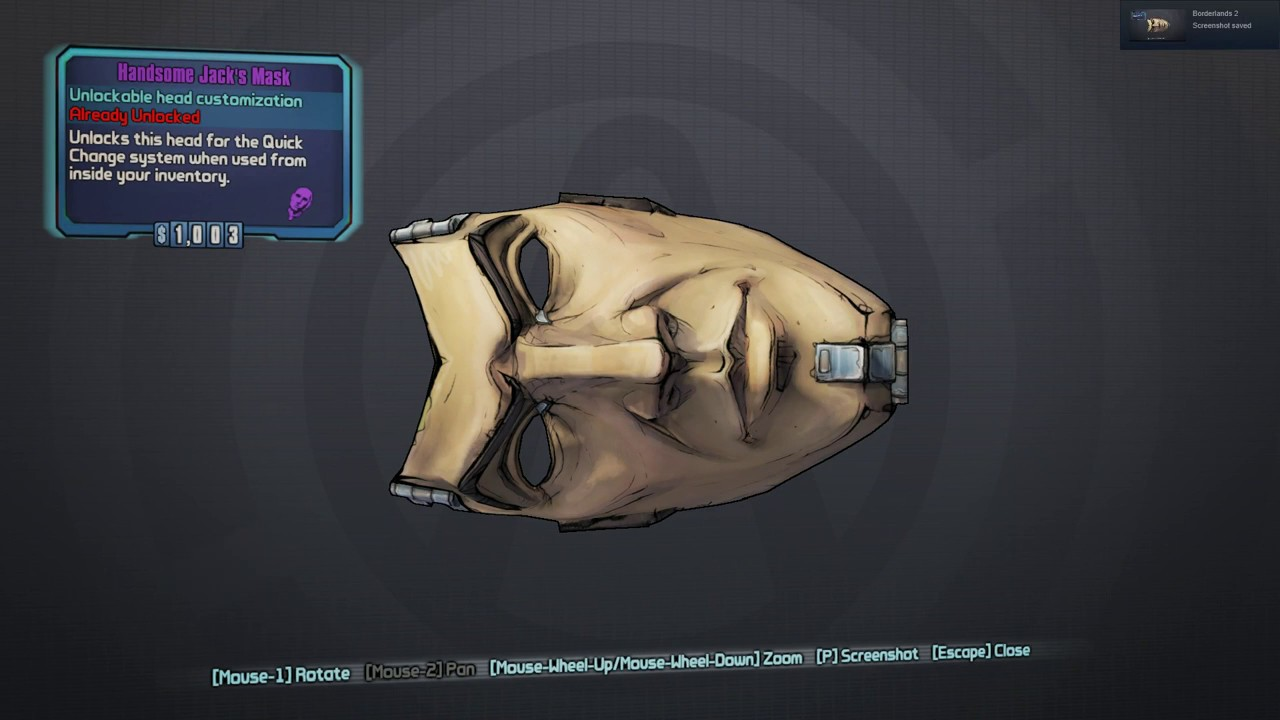 Highlight Unofficial Hunt 2019 0021 Handsome Jack S Mask
