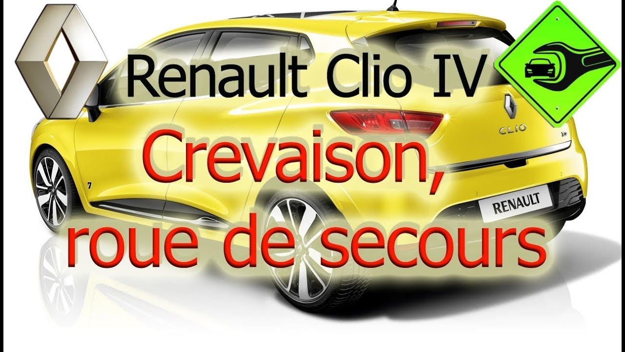 renault clio iv crevaison roue de secours youtube. Black Bedroom Furniture Sets. Home Design Ideas