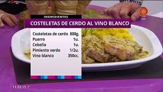 Costeletas de cerdo al vino blanco