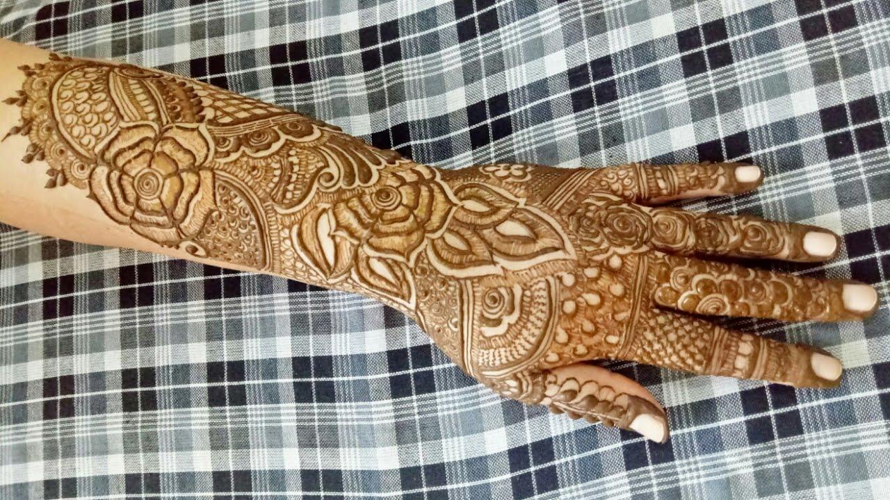 Mehndi Bridal Back Side : Floral bridal henna design for back side hand youtube