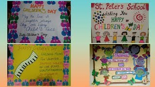 Children's day school display board ideas | Notice board on children's day |
