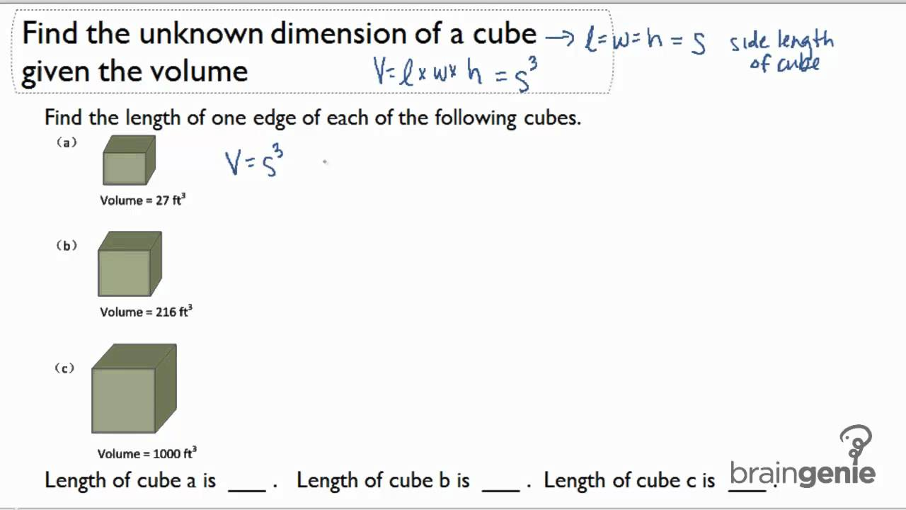 122 Find The Unknown Dimension Of A Cube Given The Volume