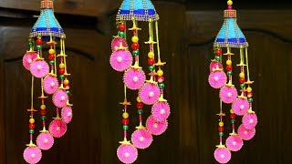 How to Make Wind Chime with Recycled Materials | Wool Wind Chime Best Out Of Waste Wool Craft