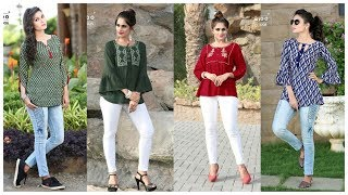 Latest Jeans Top Designs for girls !! College wear Outfits ieda !! Stylish Top& kurti For Women's