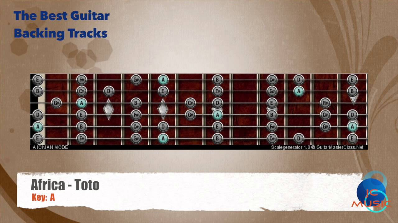 Africa - Toto Guitar Backing Track with scale chart