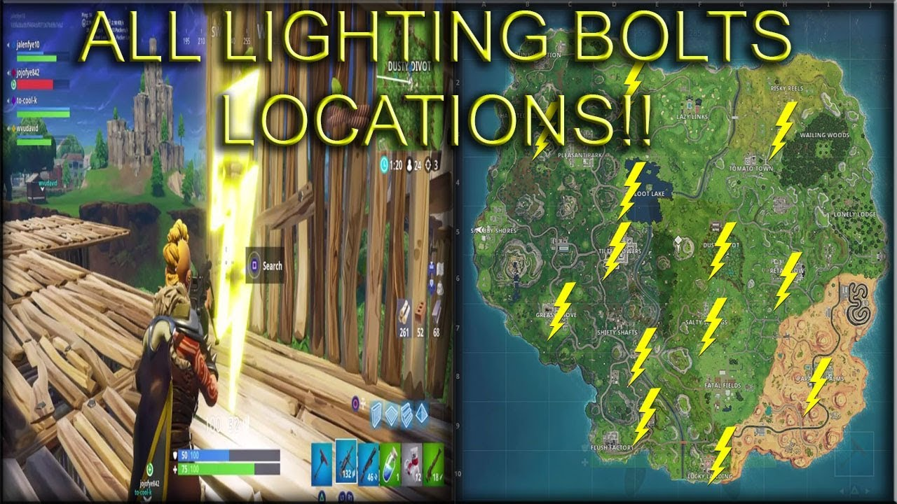 fortnite season 5 week 1 search floating lightning bolts challenge all locations - fortnite search floating lighting bolts