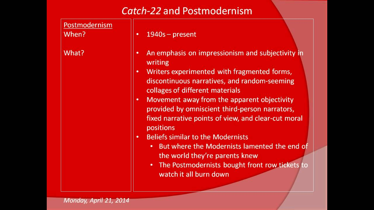 catch and postmodernism catch 22 and postmodernism