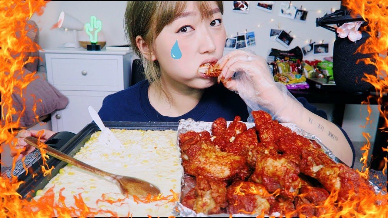 Corn Cheese Fondue + Blazin' Spicy Wings Challenge(?) Mukbang!!| KEEMI★