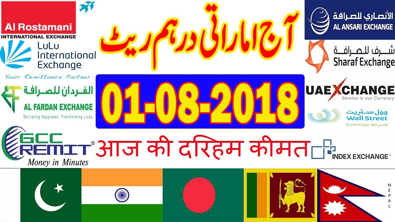 Today UAE Dirham Currency Exchange Rates - 01-08-2018 | India | Pakistan | Bangladesh | Nepal ...
