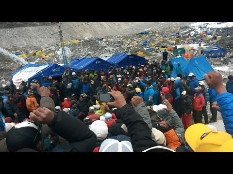 Sherpa Group Meeting Following Tragedy on Everest
