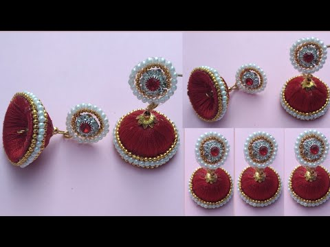 How to make silk thread jhumkas hoop style earring at home | Making Hoop Earring | #earring