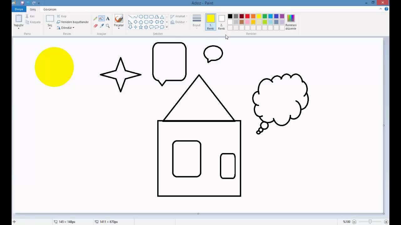 Ilk Görsel Eğitimim Paintte Resim Yapma Ders 1 Youtube