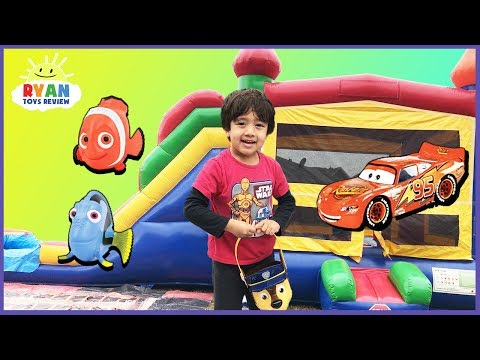 Download Youtube: KIDS SURPRISE TOY HUNT CHALLENGE Giant Inflatable Outdoor Playground for Kids! Disney Cars Thomas