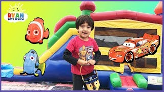 KIDS SURPRISE TOY HUNT CHALLENGE Giant Inflatable Outdoor Playground for Kids! Disney Cars Thomas