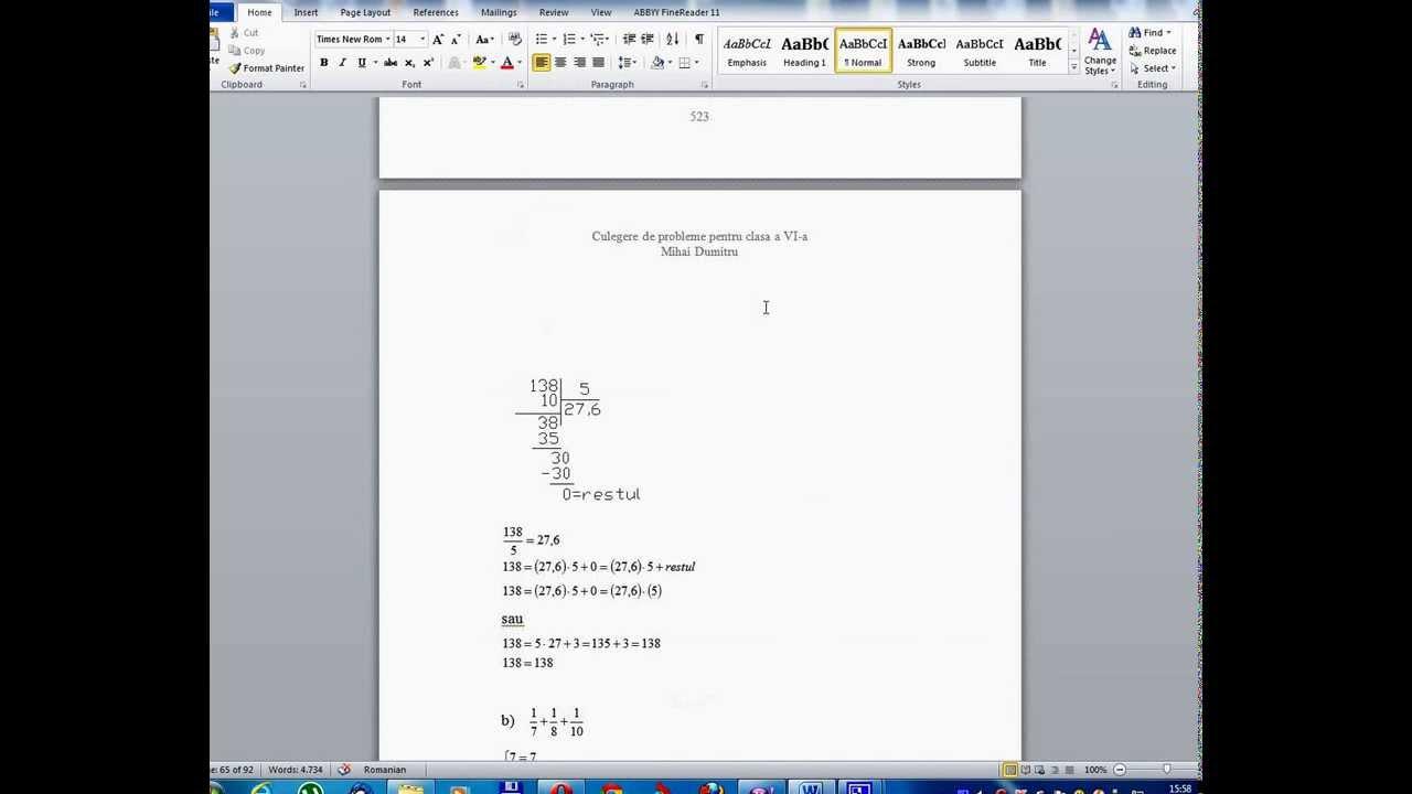 Clasa a VI - a - Lectia 51- Orice numar impartit la zero este infinit