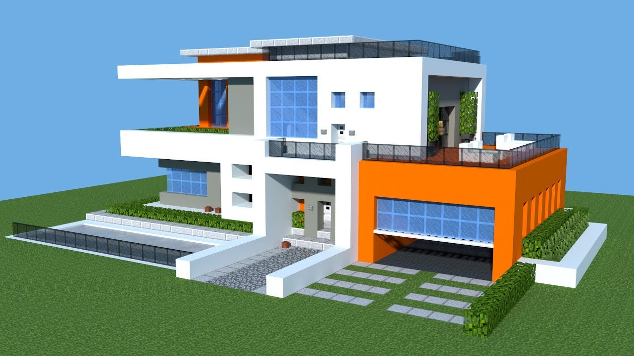 Minecraft how to build a modern house tutorial big for Minecraft modern house download 1 8