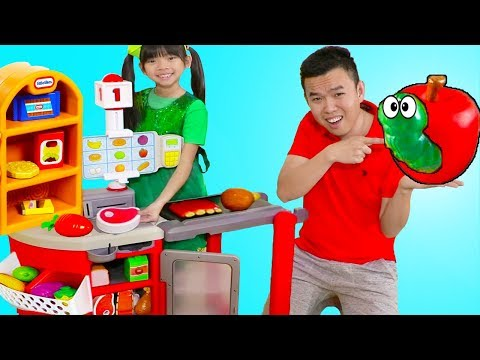 Emma Pretend Play Shopping w/ Kids Grocery Supermarket Food Toy Store