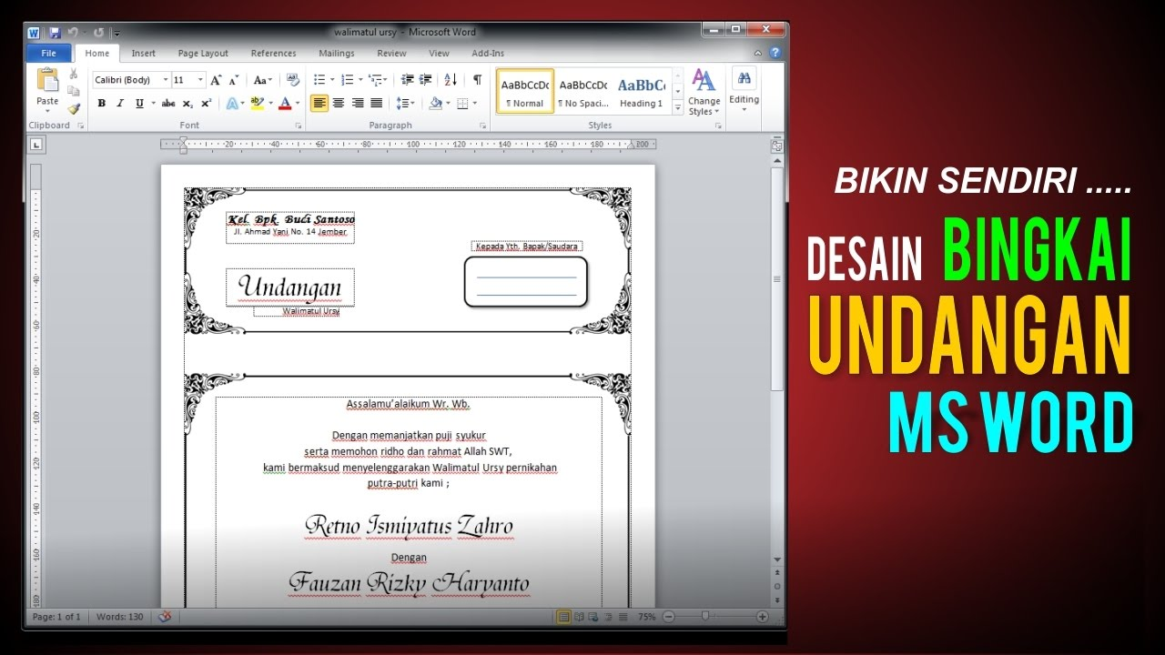 Tutorial Membuat Undangan Di Msword Youtube