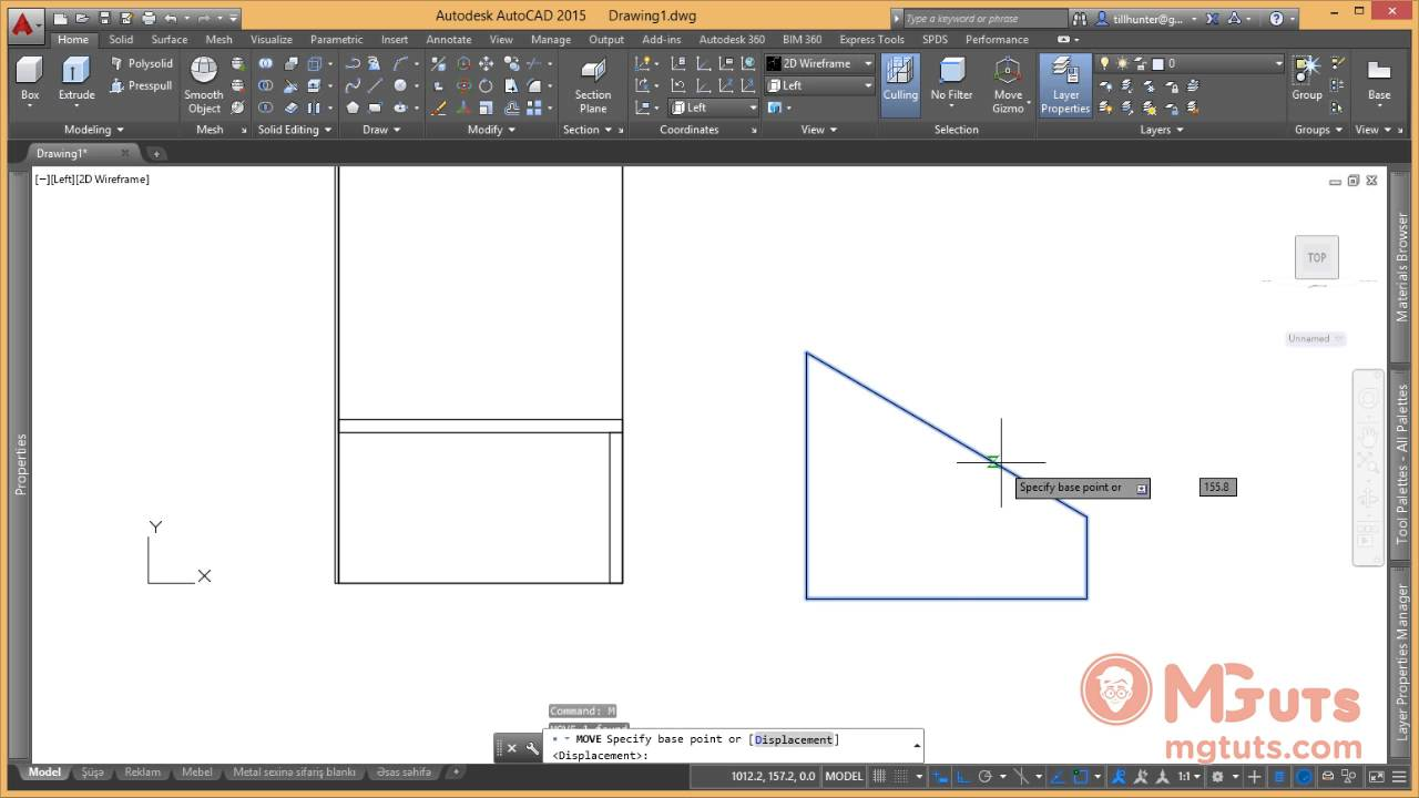 Autocad real work example - Drawing trade stand from laminate flake board and glass