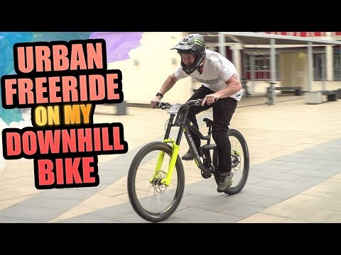URBAN MTB FREERIDE ON MY DOWNHILL BIKE IS SICK!
