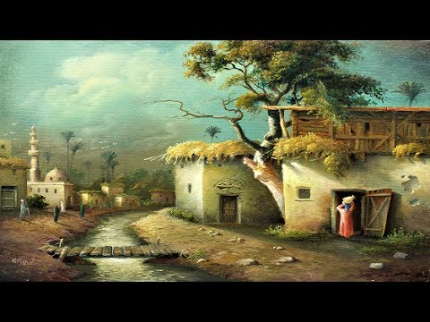 oil painting landscape egyptian village by 4 colors with yasser fayad - Oil Painting