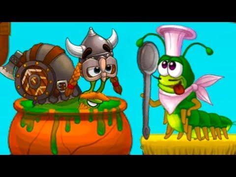 УЛИТКА БОБ 3 и Кид #2 Гусеница хочет съесть викинга Snail Bob - мультик игра для детей на пурумчата