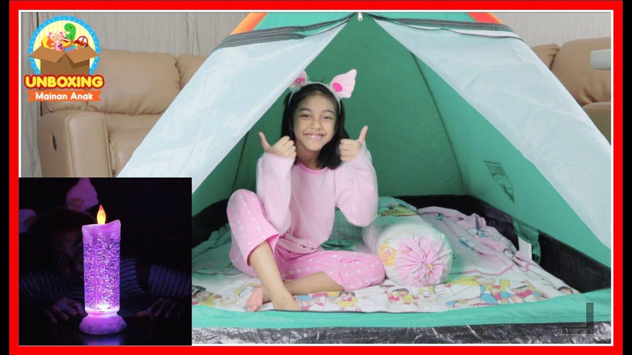Mainan Tenda Kemping Dan Lampu Tidur Anak Unboxing Hello Kitty Kemah Kemahan Di Dalam Rumah