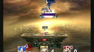 Brawl Hacks - Giant Growing Sonic/Super Sonic v.s. Peach & Mario