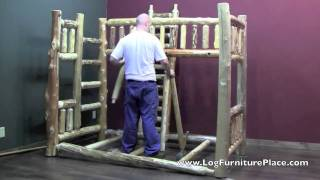 Full Over Full Log Bunk Bed Assembly | How To Assemble Log Bunk Bed