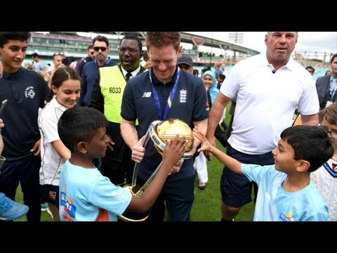 England cricketers celebrate their first World Cup triumph