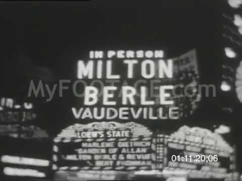 Stock Footage - 1930's Broadway Vaudeville Marquee Advertising Miton Berle