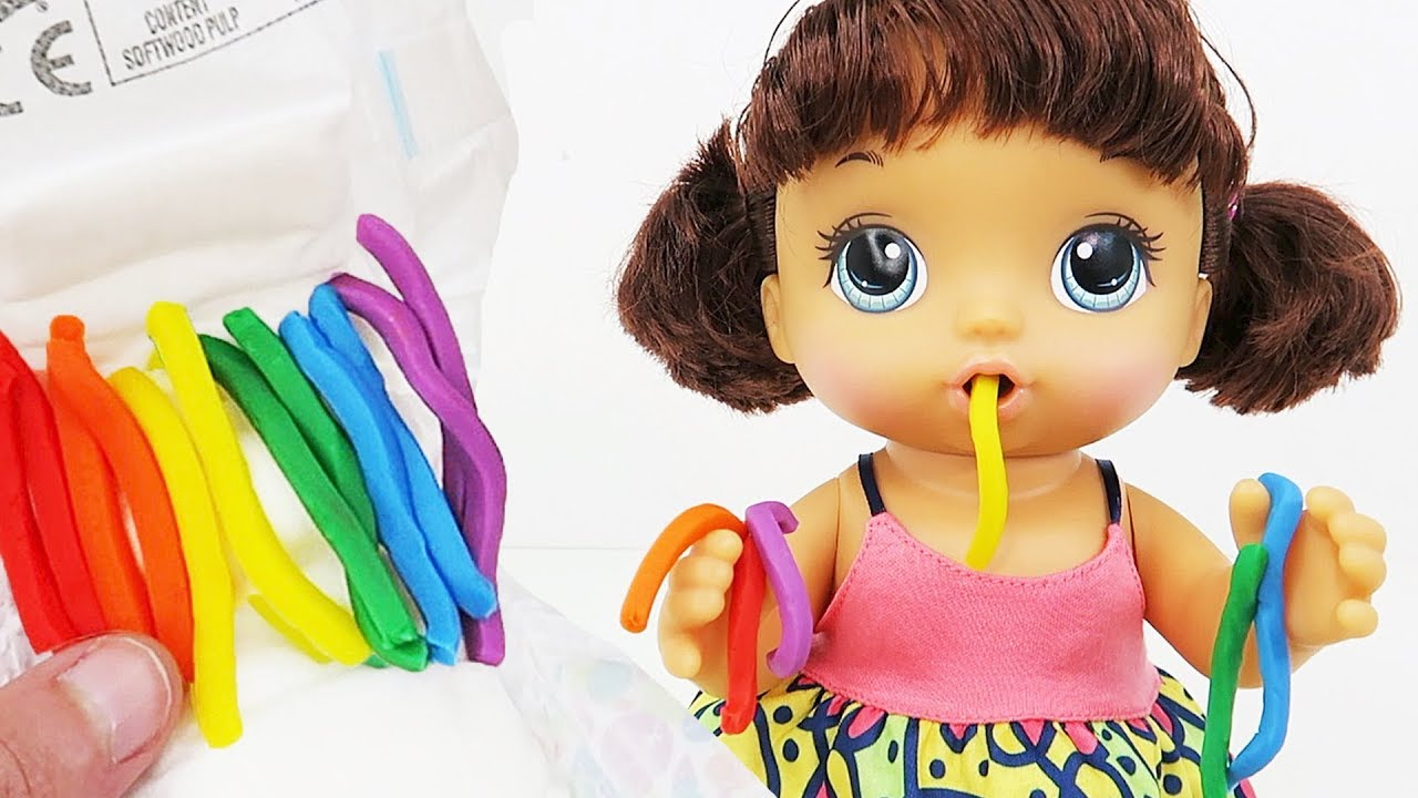 Baby Alive Learning Colors With Play Doh Pasta Foods