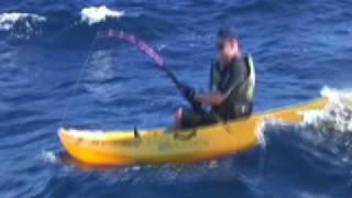 Kayak Fishing: Monster Marlin Jumping in the air!
