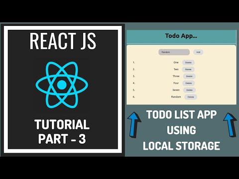 React.js Tutorials For Beginners - Todo List App Using Local Storage thumbnail