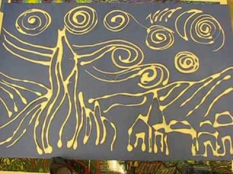 how to draw starry night with oil pastels