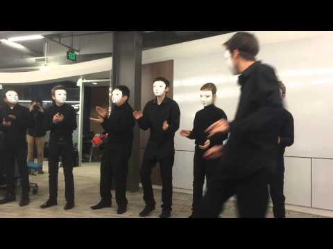 Surprise performance by the Limonest Percussion Orchestra at MLive-Flint Journal office
