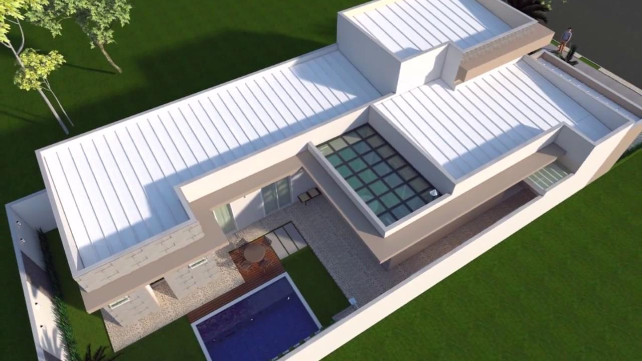 Projeto de casa t rrea fachada em arquitetura moderna for Casa moderna 8