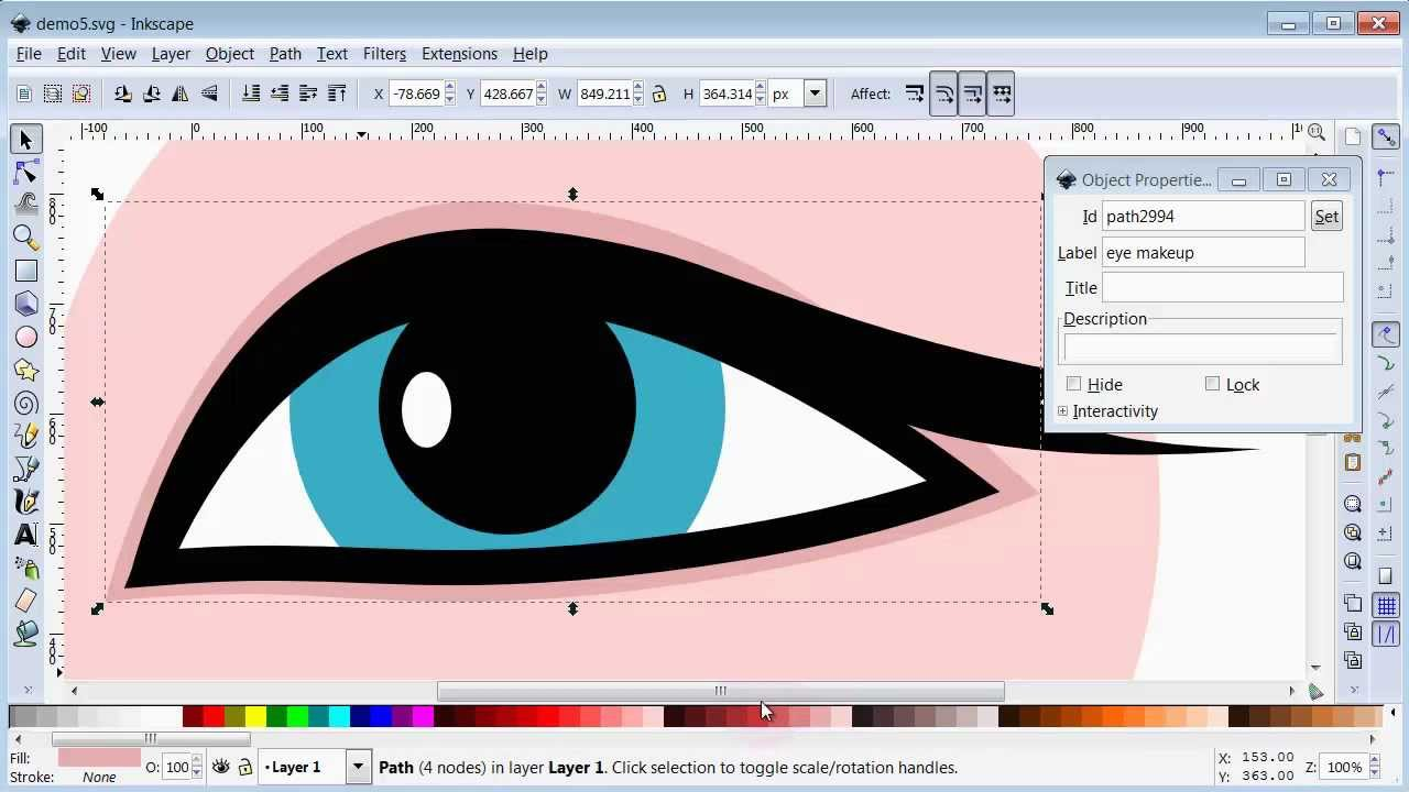 Drawing Lines In Inkscape : Woman s eye inkscape drawing tutorial funnycat tv