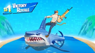 VICTORY ROYALE While ONLY RIDING A SHARK! (Fortnite Season 3)