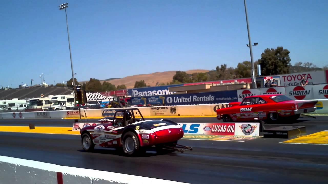 Austin Healy Drag Car Vs Chevy Nova Drag Car Sonoma Raceway 2014