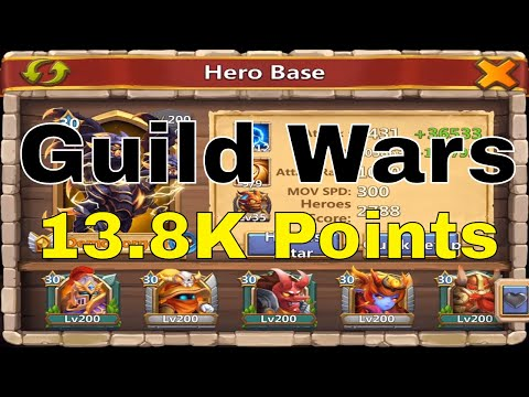 Castle Clash Guild Wars 13.8K Points Attacking With Base Defense Team