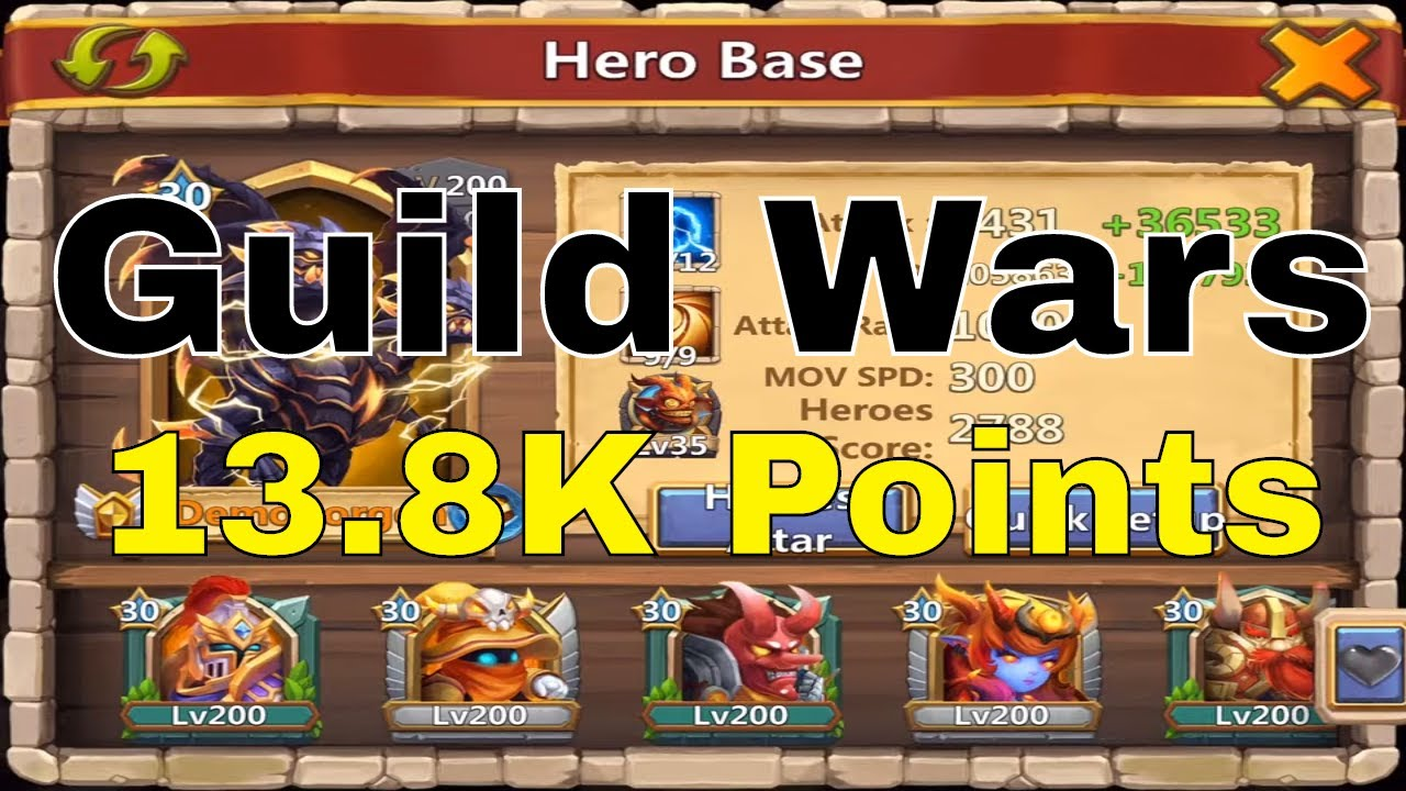 Castle Clash Guild Wars 13 8k Points Attacking With Base Defense Team Youtube