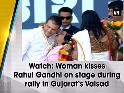 Watch: Woman kisses Rahul Gandhi on stage during rally in Gujarat's Valsad Mp3