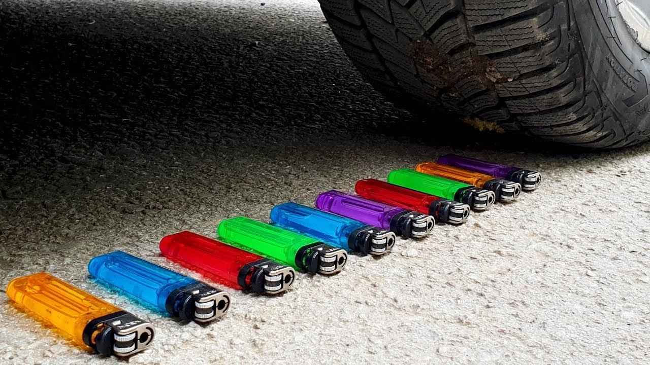 कुरकुरे और नरम चीजों को कार से कुचलना! प्रयोग कार बनाम लाइटर