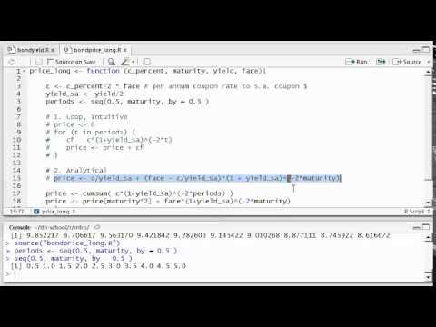 R Programming: Intro: Bond Price