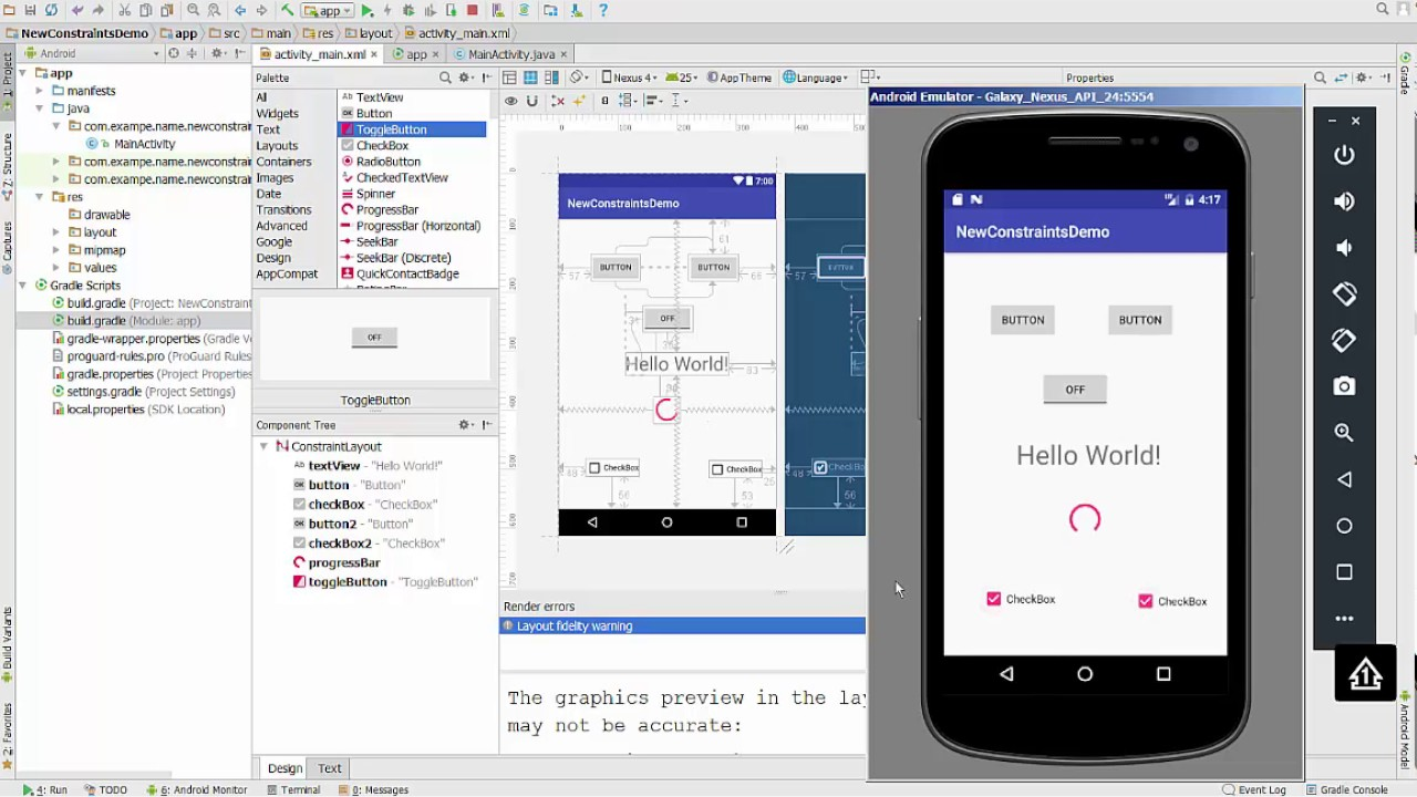 Android Studio 2018 New Constraint Layout To Start Youtube