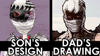 KIDS DESIGN Redrawn by their DAD - A PROFESSIONAL MARVEL ARTIST! PART 1! YouTube Videos