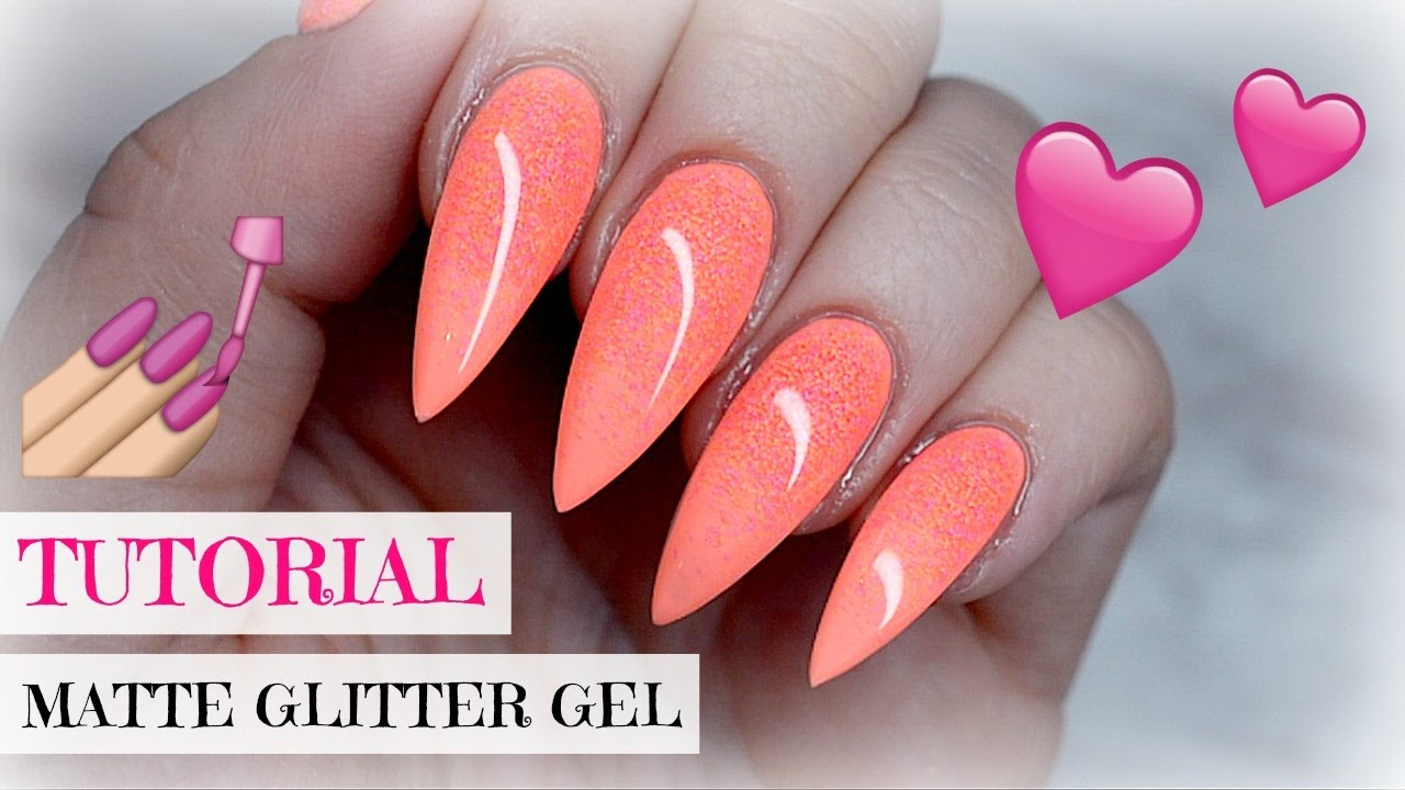 tutorial coral peach pointy nails