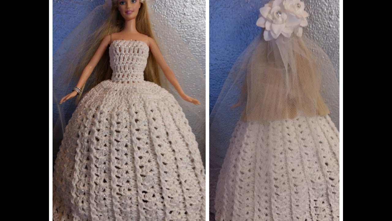 Preferenza TUTORIAL N° 3 VESTITO DA SPOSA PER BARBIE ALL'UNCINETTO - crochet  CH98